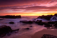 Magnifient red sunrise over the coast of Merimbula