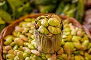 Green kidney beans in tin can, local market