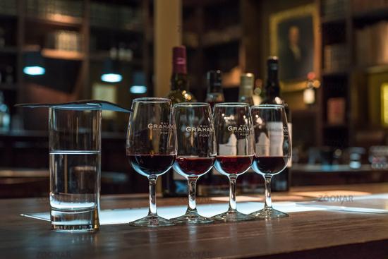 PORTO, PORTUGAL - June 19, 2018: Port wine tasting room in Graham's port lodge, Vila Nova de Gaia, Porto, Portugal