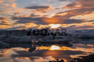 Sunset in Jokulsarlon, Iceland