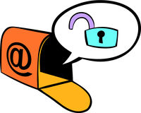 Mailbox with padlock icon, icon cartoon