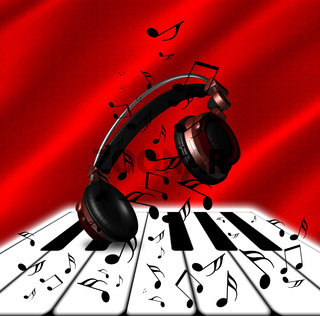 Realistic Red headphones with Music Notes and Piano