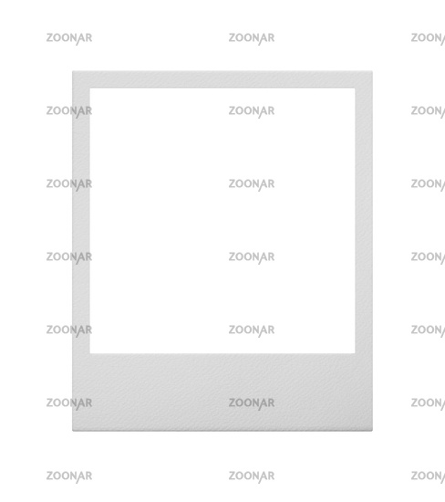 One empty instant photo frame isolated on white