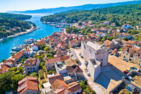 Town of Vrboska bay and fortress aerial view, Hvar island