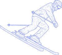 Mountain slalom skier silhouette sketch on white background