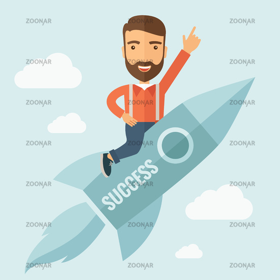Successful Man Flying with a Rocket