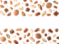 Pattern of nuts, isolated on whie