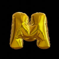 Golden Balloon Letter M, Realistic 3D Rendering