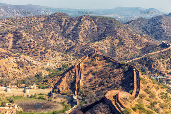 Jaigarh Fort wall in the hills of Jaipur, India
