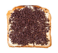 top view toast with butter and chocolate sprinkles