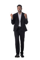 Portrait of business man hold fist
