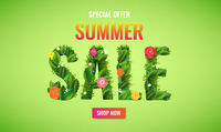 Summer Sale Poster With Text And Flowers