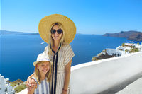 Mother and daughter on Santorini