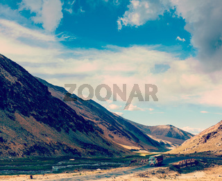 Manali-Leh Road in Indian Himalayas with lorry