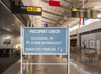 Concept of restricting access to Europe for US travelers because of coronavirus outbreak