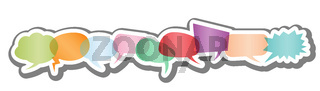 set of pastel colored comic speech bubbles or speech balloons