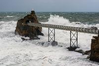 Rocher de la Vierge in Biarritz, France