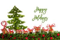 Christmas Tree, Fir Branch, Gifts, Red And Silver Stars, Text Happy Holidays