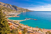 Town of Menton bay and French Italian border on Mediterranean coast view