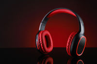 Wireless Bluetooth Headphones Music in Red and Black Color