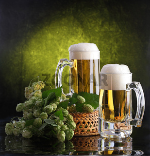 Beer with foam and a hop branch