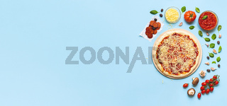 Pizza making process and ingredients. Banner with preparing pizza pepperoni