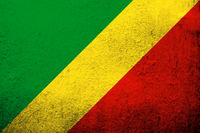 The Republic of the Congo (Congo-Brazzaville) National flag. Grunge Background