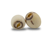 Dried Lotus Seeds on white background.