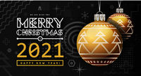 Congratulations on New Year 2020 and Christmas with golden Christmas balls with a trendy design on the background. Memphis geometric design elements. Vector illustration on black