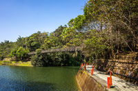 pond with suspension bridge at Toushe Reservoi