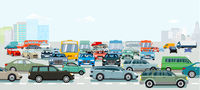 Verkehrsstau an der Straßenkreuzung
