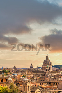 Rome cityscape with sunset sky and clouds, Italy