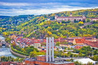 Old town of Wurzburg and castle on the hill panoramic view,