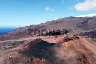 Amazing aerial view of a volcanic crater in El Hierro island, Canary Islands, Spain.