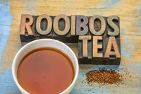 rooibos red tea, drink and typography