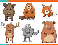 set of cartoon wild animals funny characters