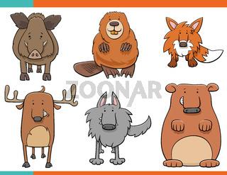 set of cartoon wild animals funny characters