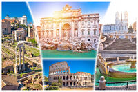 Rome postcard. Eternal city of Rome famous landmarks tourist postcard view