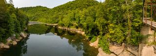Drone view of the Cheat river by Jenkinsburg Bridge near Morgantown