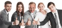 Business people with thumb up