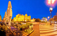 Zagreb. Republic of Croatia square advent evening panoramic view