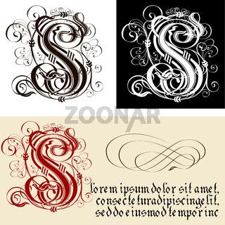 Decorative Gothic Letter S. Uncial Fraktur calligraphy.