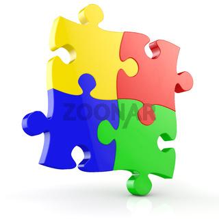 Vier bunte Teile von einem Puzzle