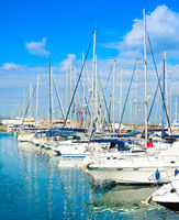 White yachts, motorboats, marina, Cyprus