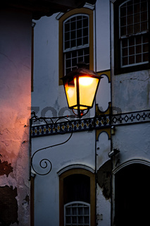 Old metal street lamp and colonial style in the historic city of Paraty
