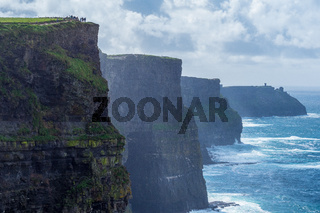 The famous Cliffs of Moher at the Irish west coast on a misty day