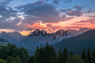 Sunset in the Dolomites at Candide, Veneto, Italy