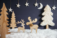 Christmas Tree, Moose Couple In Love, Moon, Snow, Black Background