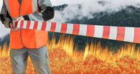 Firefighter blocks access