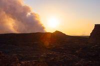 Sunrise at Erta Ale volcanic crater, Ethiopia